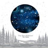 Ronde ruimte met sterrenplaneten in ruimte op witte achtergrond Stock Foto's
