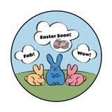 Ronde samenstelling die drie konijnen op het gazon afschilderen Zij denken over Pasen vector illustratie