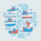 Ronde samenstelling met boten Stock Afbeelding