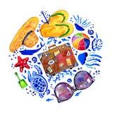 Ronde samenstelling met strandvoorwerpen en sealife Hand getrokken waterverfillustratie royalty-vrije illustratie