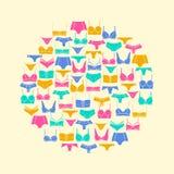 Ronde samenstelling van lingerieelementen Stock Foto