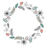 Ronde slinger met seizoen bloemen en bladeren, dogrose royalty-vrije illustratie