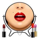 Ronde spiegel met bezinning van vrouwen` s de glanzende lippen en reeks lippen Stock Afbeeldingen