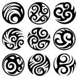 Ronde stammen geplaatste tatoegeringen Stock Illustratie