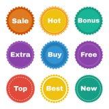 Ronde stickers Stock Fotografie