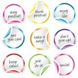 Ronde stickers met gekrulde hoeken met positieve berichten Stock Afbeelding