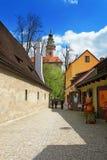 Ronde toren van het Kasteel van de Staat in de Tsjechische Republiek van Cesky Krumlov Royalty-vrije Stock Afbeeldingen