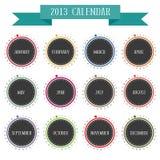 Ronde uitstekende kalender 2013 Stock Foto's
