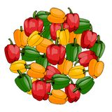 Ronde van gekleurde peper op witte achtergrond wordt gemaakt die vector illustratie