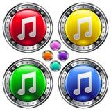 Ronde vectorknoop die met ico van de muzieknota wordt geplaatst vector illustratie