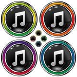 Ronde vectorknoop met het pictogram van de muzieknota stock illustratie