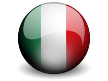 Ronde Vlag van Italië Stock Foto's