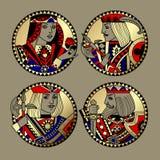 Ronde vormen met gezichten van speelkaartenkarakters Royalty-vrije Stock Afbeelding