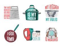 Rondel, grater, colander, niecka, melanżer i talerz smażyć, Piec lub brudni kuchenni naczynia gotuje materiał, logo royalty ilustracja