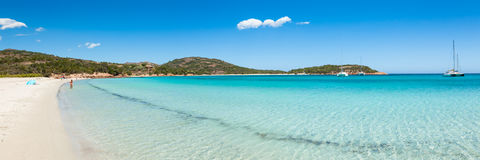 Rondinara海滩全景在科西嘉岛在法国 免版税库存照片
