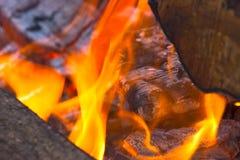 Rondins brûlants à l'endroit du feu Image libre de droits