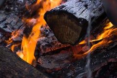 Rondins brûlants à l'endroit du feu Images stock