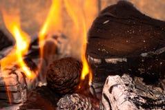 Rondins brûlants Image libre de droits