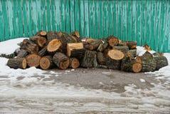 Rondins et bois de chauffage à la barrière verte dans la neige Image libre de droits