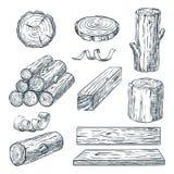 Rondins, tronc et planches en bois, illustration de croquis de vecteur Matériaux en bois tirés par la main Ensemble de bois de ch illustration de vecteur