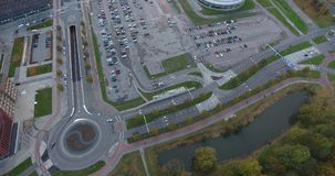 Rondo, drogi i parking teren, widok z lotu ptaka, holandie zbiory