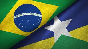Rondonia state and Brazil flags textile cloth, fabric texture. Rondonia state and Brazil folded flags together vector illustration