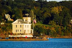 Rondout Lighthouse, Kingston, New York. Rondout Lighthouse, near Kingston, New York, assists boats in navigating the waters of the Hudson River stock photos