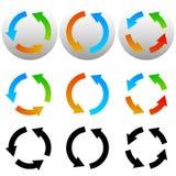 Rondschrijven, de pictogrammen van de cirkelpijl, symbolen Kleurrijke en zwarte versio stock illustratie