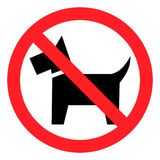 Rondschrijven, ` Geen huisdieren toegestaan `-teken Rood teken, zwart hondsilhouet Geïsoleerd op wit stock illustratie