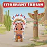 Rondtrekkende Indiër, totem en cactus vector illustratie