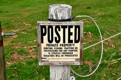 Ronks, Пенсильвания: Отсутствие Trespassing знака Стоковое Изображение