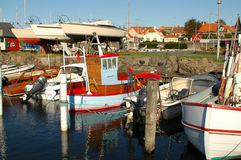 Ronne harbour, Bornholm. Harbour in Ronne with recreational and work vessels royalty free stock photo