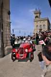 Rood 1934 Fiat 508 Balilla in San Marino Stock Foto's