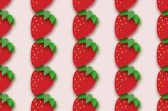 Rood Aardbei naadloos patroon in document besnoeiingsstijl Origami Gezond voedsel op roze zomer Royalty-vrije Stock Afbeelding