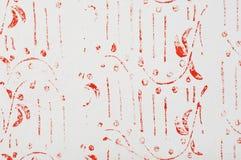 Rood abstract patroon op een witte muur Royalty-vrije Stock Afbeeldingen