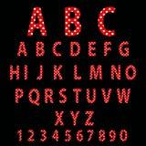 Rood alfabetontwerp in witte stippen. vector illustratie