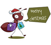 Rood Ant Cartoon Christmas Illustration Royalty-vrije Stock Afbeelding