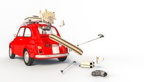 Rood auto en de wintermateriaal vector illustratie
