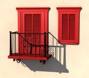 Rood balkon en venster in sterk de zomerlicht Royalty-vrije Stock Foto's