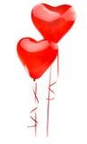 rood ballonhart dat op wit wordt geïsoleerd Royalty-vrije Stock Afbeeldingen