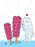 Rood Bean Ice Cream Polar Bear als Stock Fotografie