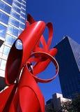 Rood beeldhouwwerk, Dallas. Stock Fotografie