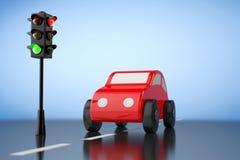 Rood Beeldverhaal Toy Car met Verkeerslicht het 3d teruggeven Royalty-vrije Stock Afbeeldingen