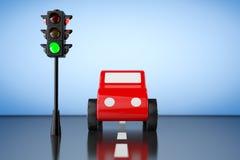 Rood Beeldverhaal Toy Car met Verkeerslicht het 3d teruggeven Royalty-vrije Stock Foto