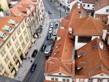 Rood-betegelde daken van Praag, Tsjechische Republiek Royalty-vrije Stock Foto