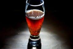 Rood bier op zwarte achtergrond met bellen Royalty-vrije Stock Fotografie