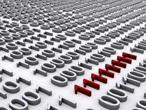 Rood binair getal dat duidelijk uitkomt stock illustratie