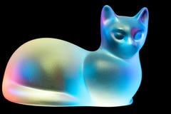 Rood, Blauw, Geel gekleurd Glas Cat Figurine stock afbeeldingen