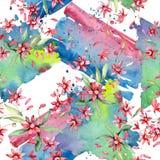 Rood bloemen botanisch bloemenboeket Waterverf achtergrondillustratiereeks Naadloos patroon als achtergrond royalty-vrije stock foto's