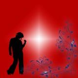 Rood bloemen grafisch en silhouet    Royalty-vrije Stock Afbeeldingen